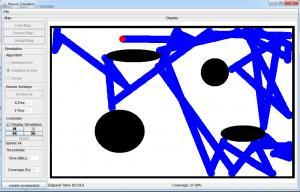"""Simulation mit """"Adaptive Brown"""" und einer Karte mit mehreren Hindernissen"""