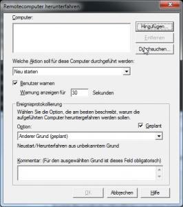 Grafisches Oberfläche des shutdown Befehls