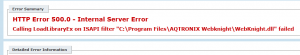Webknight loading failed