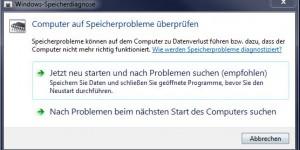 Programmfenster Computer auf Speicherprobleme prüfen