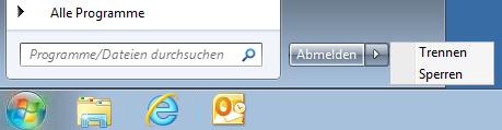 Startmenü bei einer Remote Desktop Verbindung