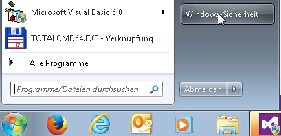 Startmenü - Windows-Sicherheit